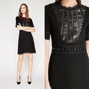 The Kooples Vegan Leather Structured Dress Black